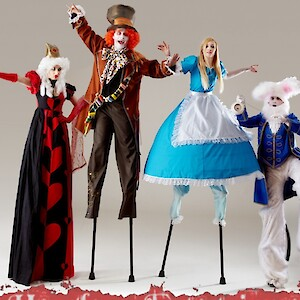 alice in wonderland themed stilt walkers uk